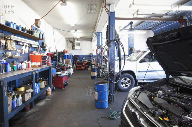 Cars in auto repair shop