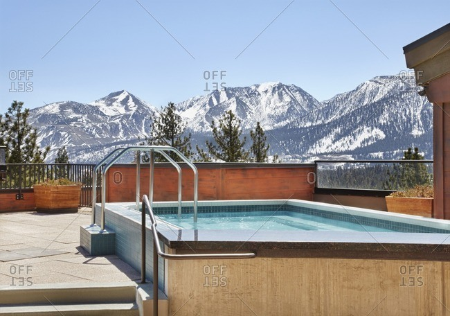 Mountains behind hot tub