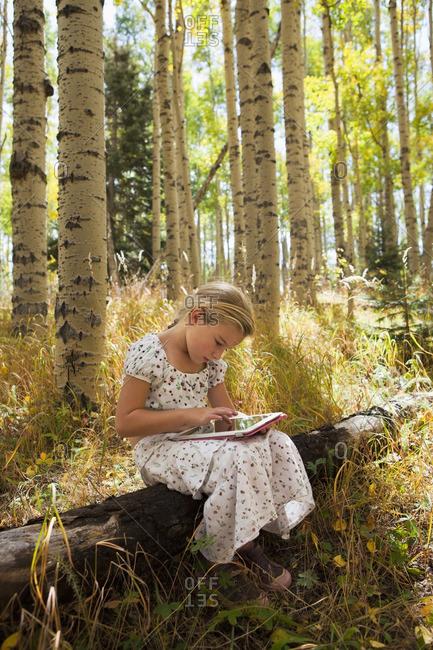 Caucasian girl using digital tablet in woods
