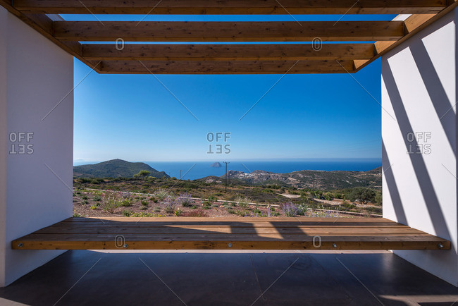 Exterior view of Clover holiday house in Kythira Island, Greece by architects R.C. Tech. The terrace