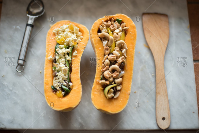 squashes stuffed with veggies and nuts