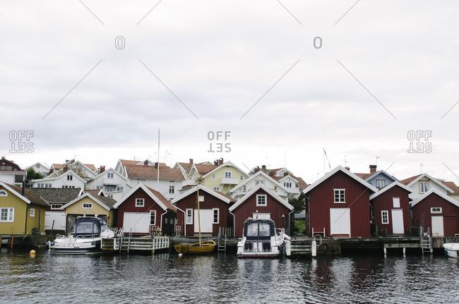 Wooden houses near harbor