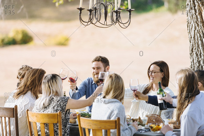 Friends toasting with wine at outdoor table