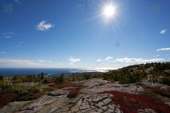 Rocky summit over coastal Maine