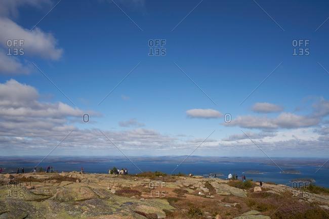 Crowds on coastal summit in Maine