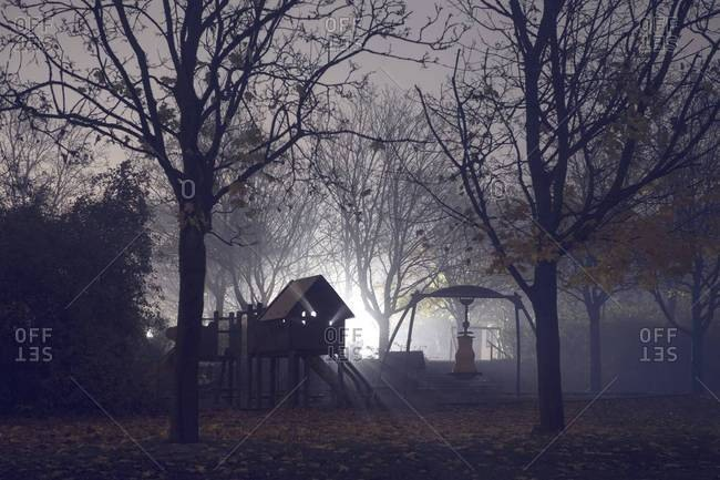Playground equipment in the park on a foggy night