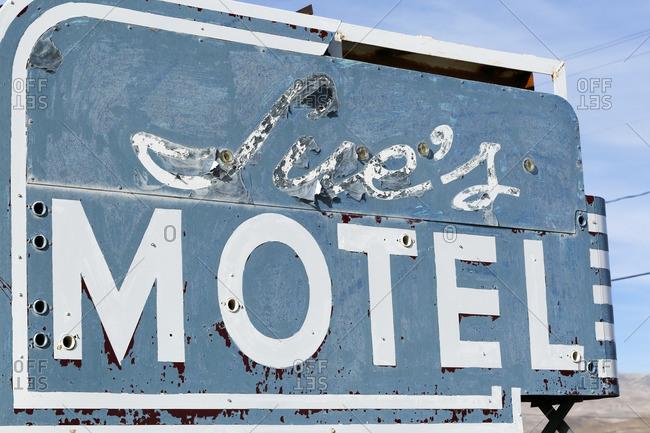 Mina, Nevada - October 7, 2016: Close-up of a dilapidated motel sign