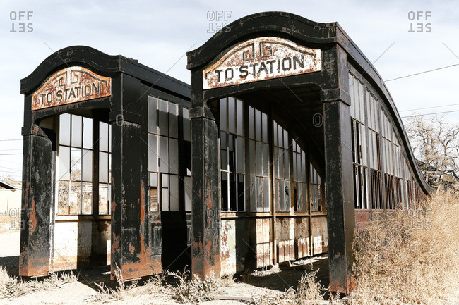 Rusted entrance to a train station