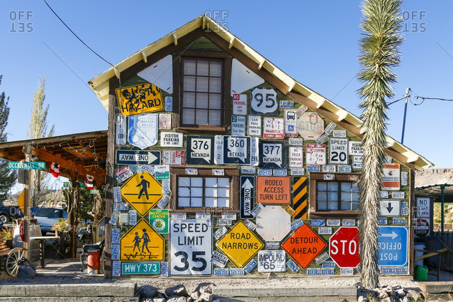 Goldfield, Nevada - October 9, 2016: Business adorned with road signs