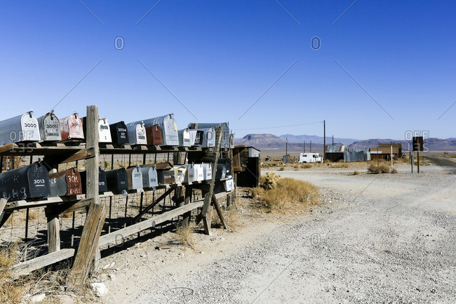 Goldpoint, Nevada - October 9, 2016: Mailboxes at the entrance to an abandoned town