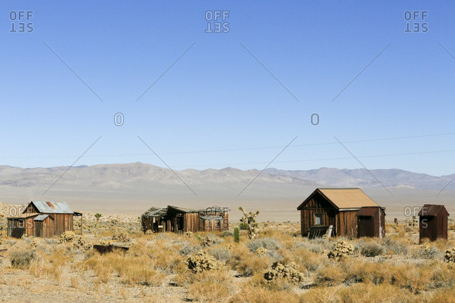 Abandoned shacks in a mountain valley