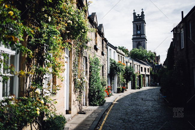 View of Saint Stephen's Stockbridge from Circus Lane in Edinburgh, Scotland