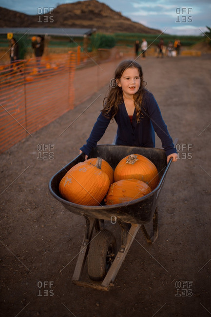 Girl next to a wheelbarrow full of pumpkins on a dirt road