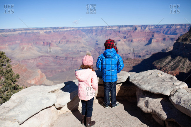 Siblings overlooking canyon