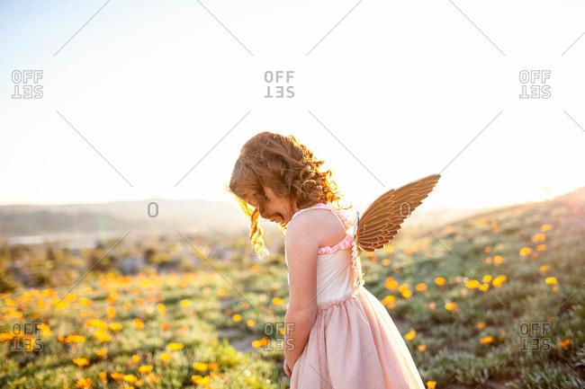 Little girl standing in a field of flowers wearing angle wings