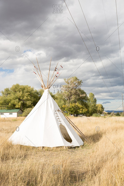 A teepee tent in rural Montana