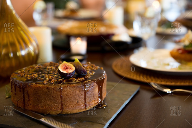 Cake with figs on table