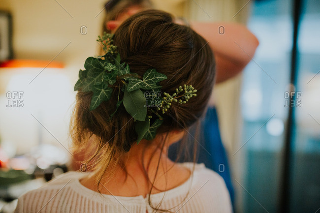 Bride with leaves in hair