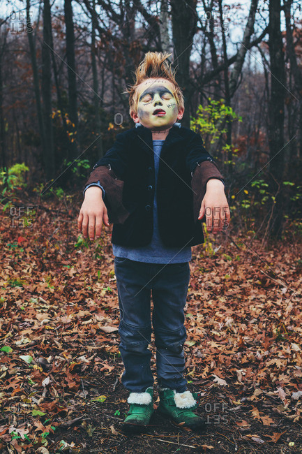 Young boy dressed up as a monster