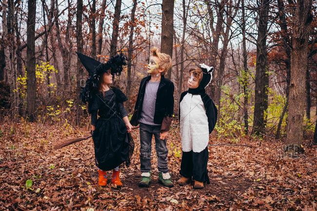 Three children dressed in Halloween costumes
