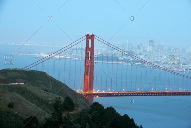 Golden Gate Bridge and San Franciso Bay at dusk