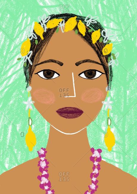 Portrait of a woman with lemon headband and earrings