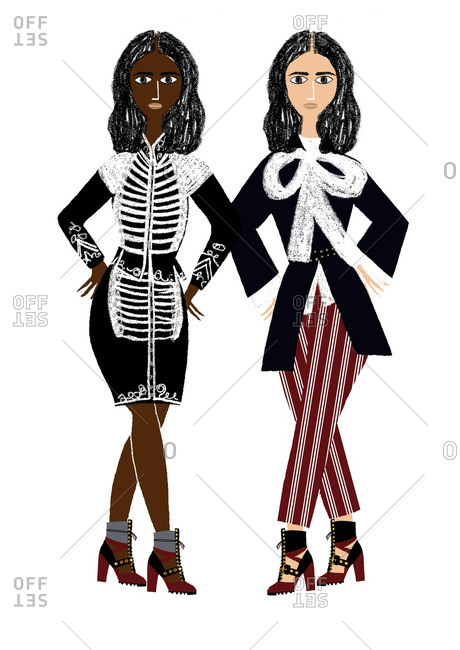 Two women in black and white fashions