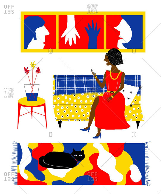 Woman in colorful living room with cat uses smartphone