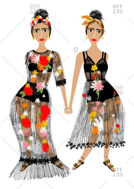 Two women wearing sheer dresses with bright floral embellishments