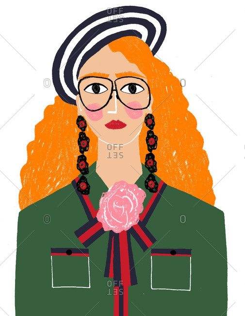Red haired woman in glasses and black and white hat