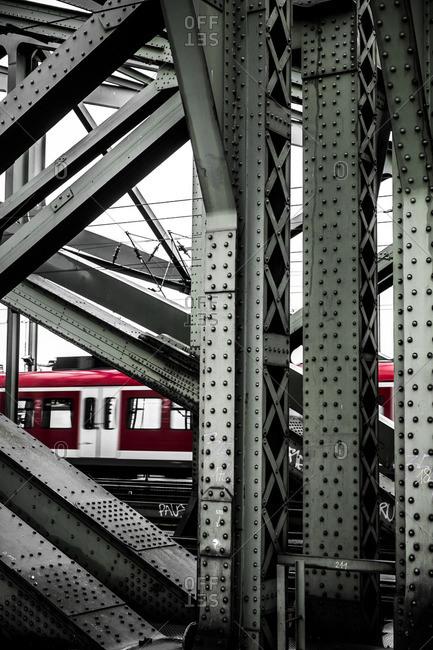 Train in a bridge in Koln Germany Europe