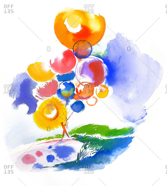 Funny, colorful balloons in a summer sunny sky with a man