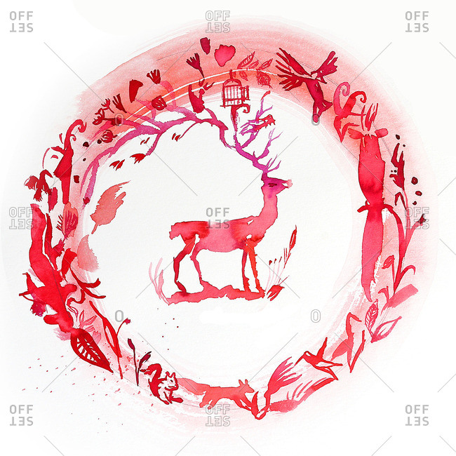 A red deer in a red wreath circle