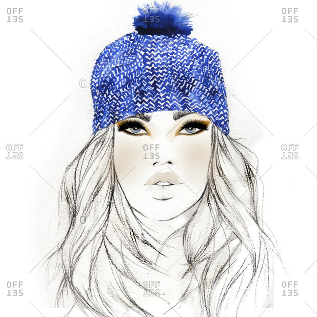 Woman in blue patterned toque