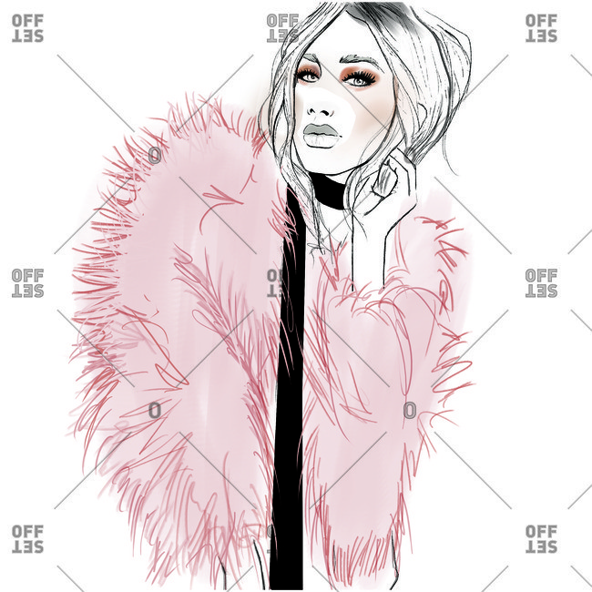 Fashion Illustration of woman in pink fluffy coat