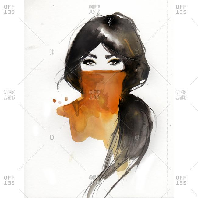 Portrait of a brunette woman wearing an orange turtleneck
