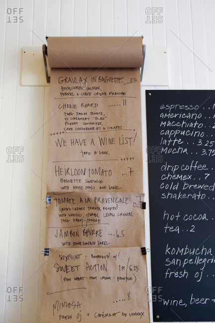 Cafe menu on a roll of butcher paper