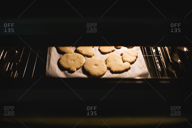 Cookies baking in an oven