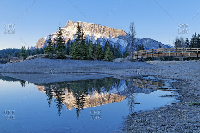 Mount Rundle reflected in Cascade Pond, Banff National Park, Alberta, Canada.