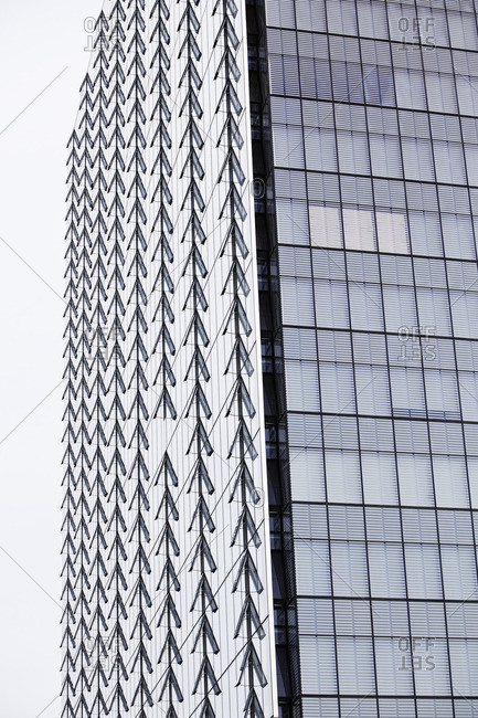 Rows of open windows on an office tower in Winnipeg, Manitoba, Canada.