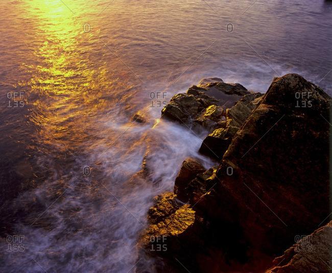 Peggy's Cove rocks at sunset. Nova Scotia, Canada
