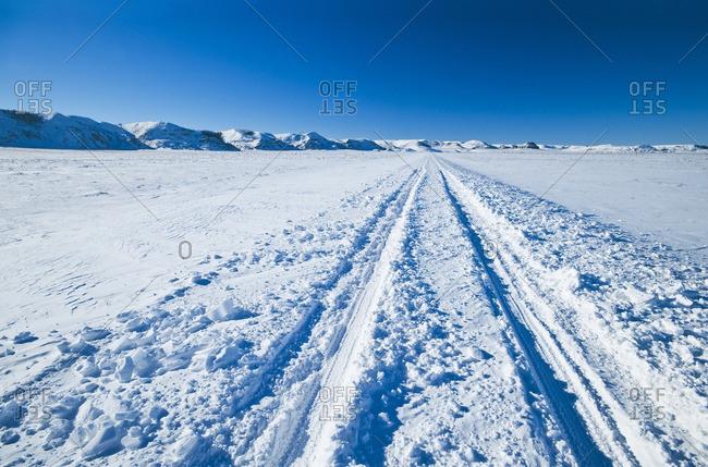 Back road in winter, Big Muddy Valley, Saskatchewan, Canada