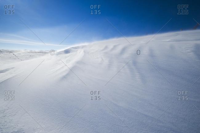 Snow drifts caused by wind, Big Muddy Valley, Saskatchewan, Canada