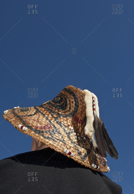 Woven cedar hats in the northwest Coast tradition at Songhees Reserve lands, Esquimalt, Victoria, British Columbia, Canada