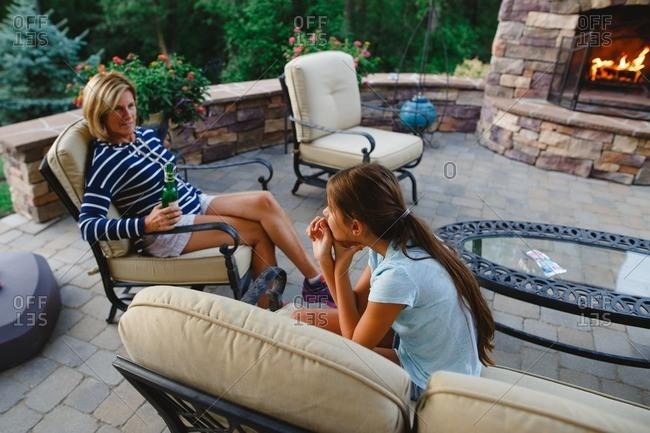 Grandma talking with granddaughter