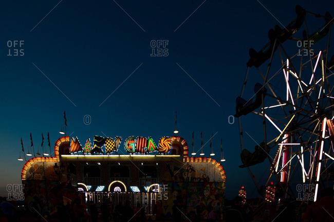 Rides lit at night at fair