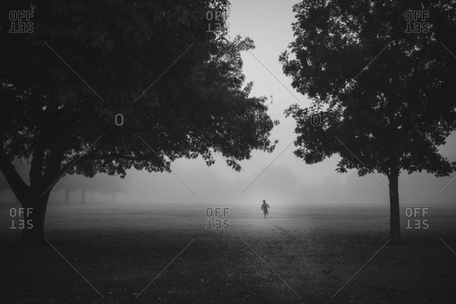 Child running in a foggy field