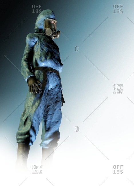 Computer artwork of a man in an isolation suit and gas mask