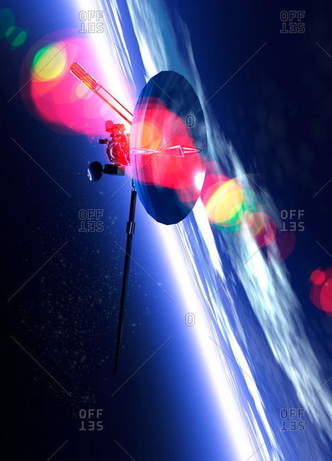 Satellite orbiting Earth, computer artwork
