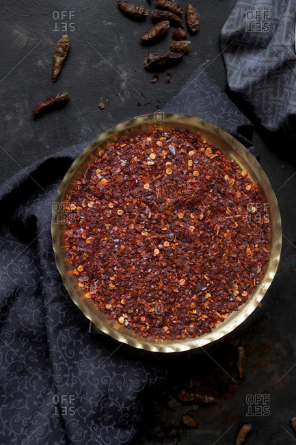 Red chili spices in a bowl